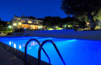 Camping les Charmilles Swimming Pool Night Time