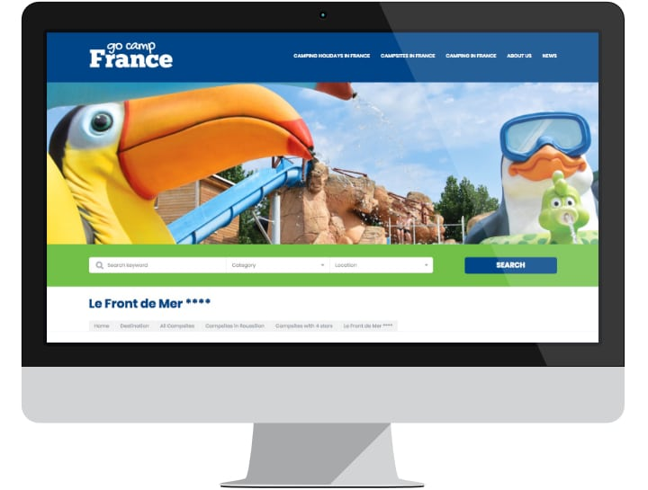 Campsite listing page on Go Camp France